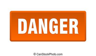 danger button. danger square orange push button