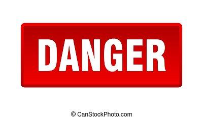 danger button. danger square red push button