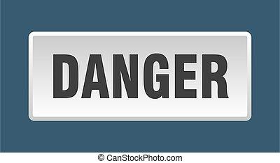 danger button. danger square white push button