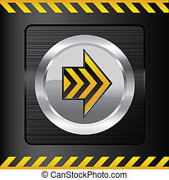 Danger button on metal background