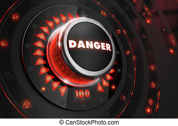 Danger Button with Glowing Red Lights.