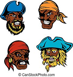 Danger cartoon pirates, captains and sailors - Angry and...