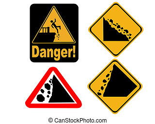 falling rock signs