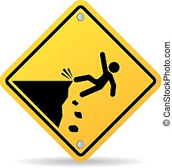 Danger cliff vector sign