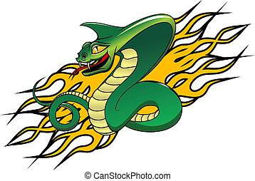 Danger cobra tattoo - Green danger snake in cartoon style as...