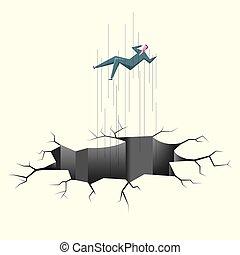 Danger concept design. A businessman is falling into a trap.