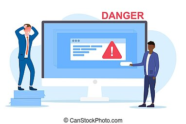Danger concept with warning triangle on a computer screen and one man wringing his hands in panic as another gets ready to push a button on screen, colored vector illustration