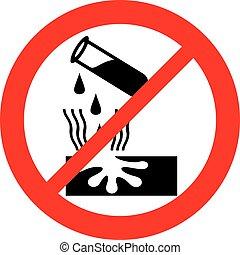 danger, corrosif, panneau avertissement