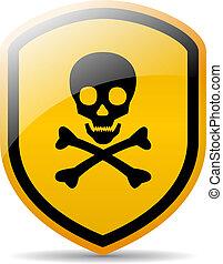 danger, crâne, signe