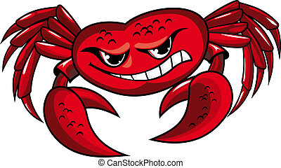 Danger crab with claws for mascot or sailor tattoo design