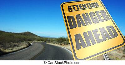 danger, devant, panneaux signalisations