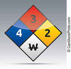 Isolated vector Danger Hazard sign icon with reflection and shadow on background