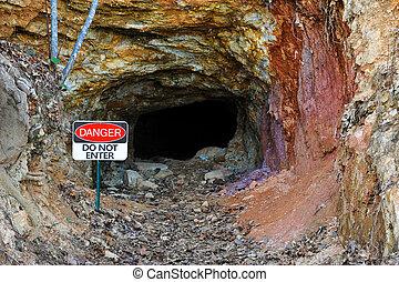 """Abandoned Gold Mine - """"Danger"""" Do Not Enter Sign at the..."""