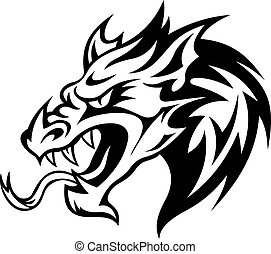 Danger dragon head for tattoo. Vector illustration