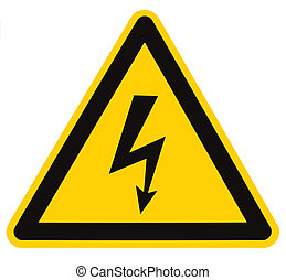 Danger Electrical Hazard High Voltage Sign Isolated Macro -...