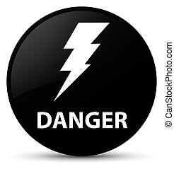 Danger (electricity icon) black round button