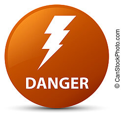 Danger (electricity icon) brown round button
