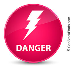 Danger (electricity icon) elegant pink round button