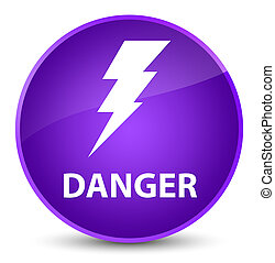 Danger (electricity icon) elegant purple round button