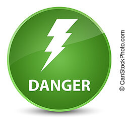 Danger (electricity icon) elegant soft green round button