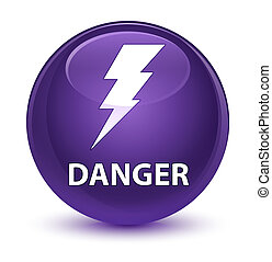Danger (electricity icon) glassy purple round button