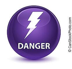Danger (electricity icon) glassy purple round button