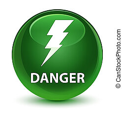 Danger (electricity icon) glassy soft green round button