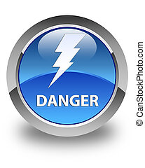 Danger (electricity icon) glossy blue round button