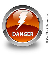 Danger (electricity icon) glossy brown round button