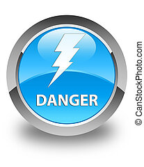 Danger (electricity icon) glossy cyan blue round button