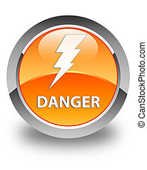 Danger (electricity icon) glossy orange round button