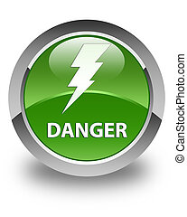 Danger (electricity icon) glossy soft green round button