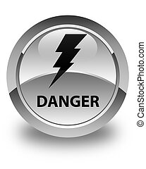 Danger (electricity icon) glossy white round button