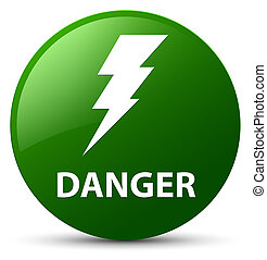 Danger (electricity icon) green round button