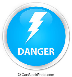 Danger (electricity icon) premium cyan blue round button