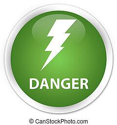 Danger (electricity icon) premium soft green round button