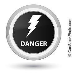 Danger (electricity icon) prime black round button