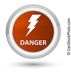 Danger (electricity icon) prime brown round button