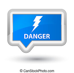 Danger (electricity icon) prime cyan blue banner button