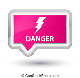 Danger (electricity icon) prime pink banner button
