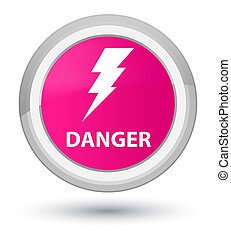Danger (electricity icon) prime pink round button