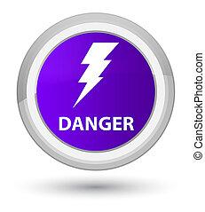 Danger (electricity icon) prime purple round button
