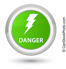 Danger (electricity icon) prime soft green round button
