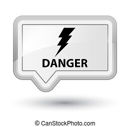 Danger (electricity icon) prime white banner button