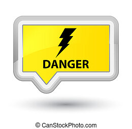 Danger (electricity icon) prime yellow banner button