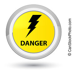 Danger (electricity icon) prime yellow round button
