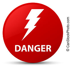 Danger (electricity icon) red round button