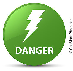 Danger (electricity icon) soft green round button