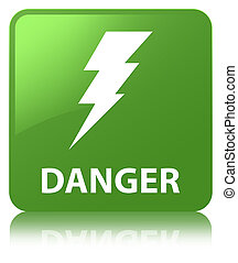 Danger (electricity icon) soft green square button