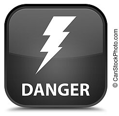Danger (electricity icon) special black square button